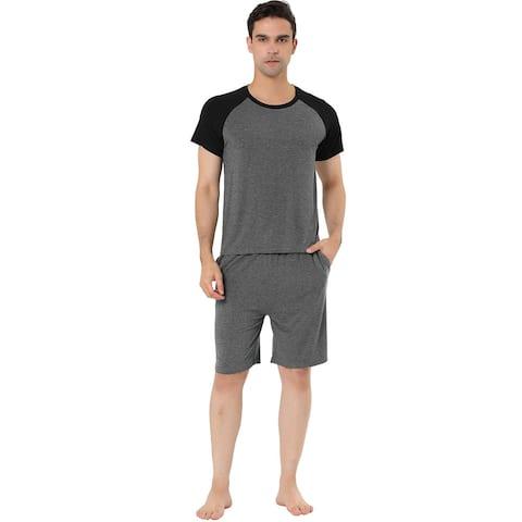 Lars Amadeus Men's Sleepwear Set Raglan Sleeve Shorts Lounge Pajama Suit