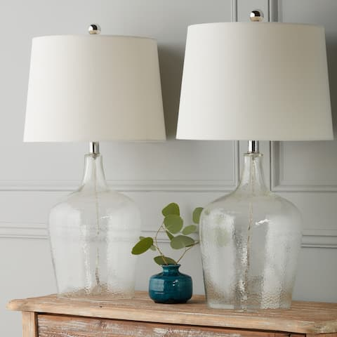 Abbyson Azure Clear Glass 27.5 InchTable Lamp (Set of 2)