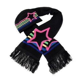 Multicolor Stripes & Star Winter Scarf & Hat Set - Black