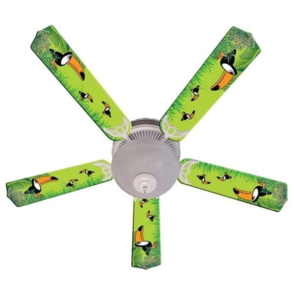 Green Toucan Print Blades 52in Ceiling Fan Light Kit - Multi