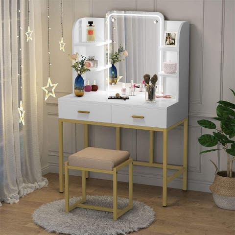 Vanity Set with Lighted Mirror and Cushioned Stool, Storage Shelves and 2 Drawers