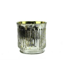 Set of 4 Yellow and Silver Ribbed Mercury Glass Decorative Votive Candle Holders 3.25""