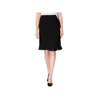 Kasper Womens Petites Pencil Skirt Fringe Slit Solid - 14P