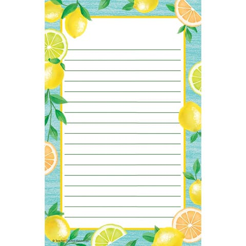 """Lemon Zest Notepad, 50 Sheets, 5.25"""" x 8.5"""", Pack of 6 - One Size"""