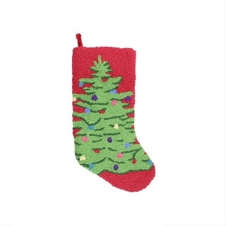 "21"" Plush Loop Knit and Velveteen Classic Holiday Tree Patterned Christmas Stocking"