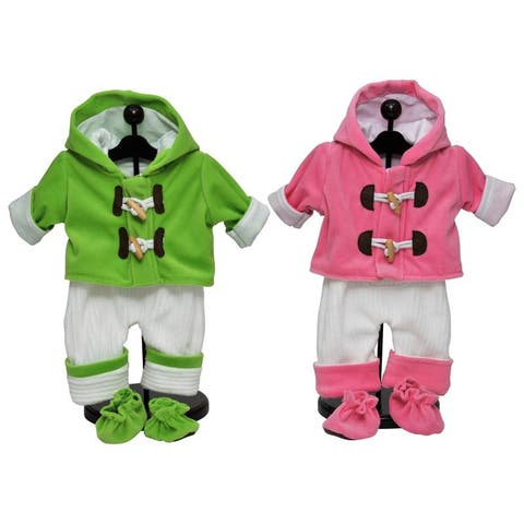 Set of Two 15 Inch Baby Clothes Doll Overall Outfits Pink & Green. Fits Bitty Baby and Bitty Twins