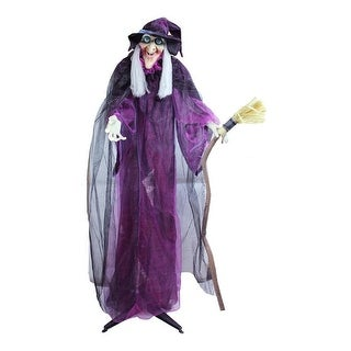 "66"" Touch Activated Lighted Standing Witch & Broomstick Animated Halloween Decoration with Sound"