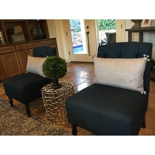 Lola Navy Tufted Armless Slipper Chair