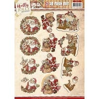 Find It Trading Yvonne Creations Punchout Sheet-Holly Jolly Santa