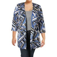 Kasper Womens Plus One-Button Blazer 3/4 Sleeve Professional
