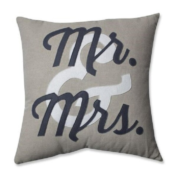 """18"""" Gray """"Mr & Mrs"""" Novelty Patterned Square Indoor Throw Pillow"""