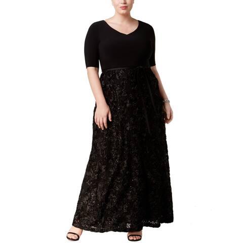 f7e62561436 Alex Evenings Black Women s Size 16W Plus Soutache Gown Dress