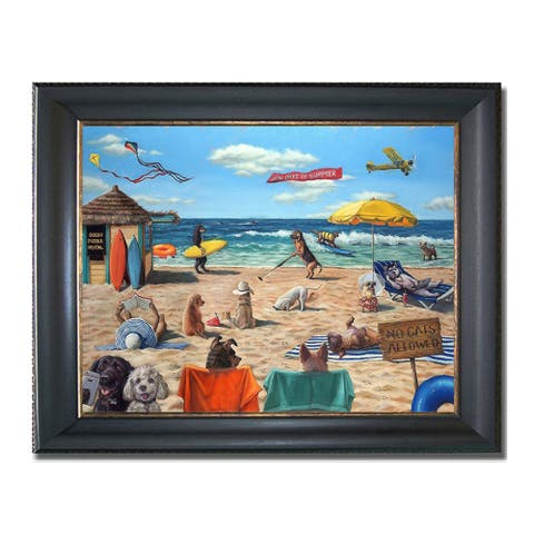 Dog Beach by Lucia Heffernan Black & Gold Framed Canvas Art (16 in x 20 in Framed Size)