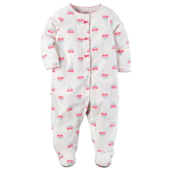 b77d61e677be Shop Carters Girls 0-9 Months Heart Fleece Sleeper Pajama - White ...