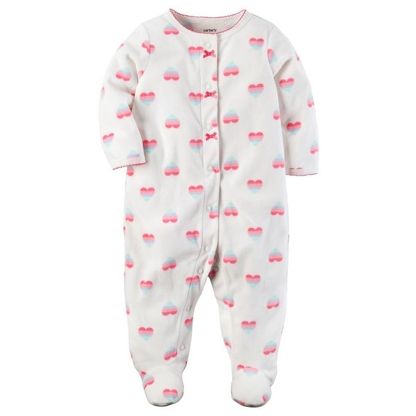 Carters Girls 0-9 Months Heart Fleece Sleeper Pajama - White