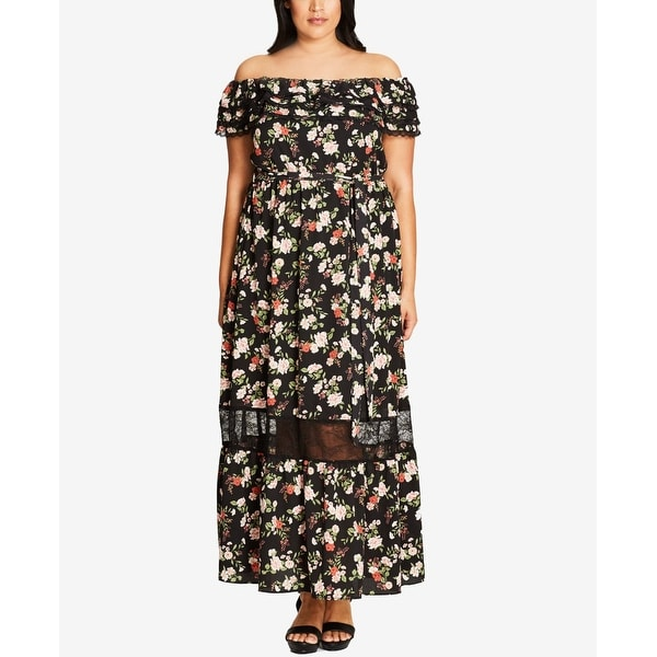 Shop City Chic Women Plus Off-Shoulder Floral Maxi Dress - On Sale ...