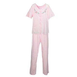 Sag Harbor Women's Short Sleeve Pajamas with Embroidery