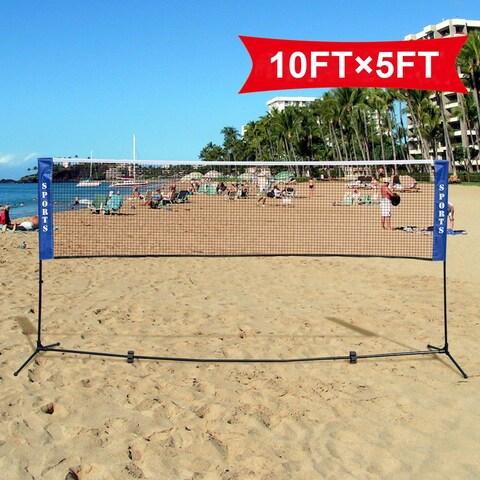 Costway Portable 10'x5' Badminton Beach Volleyball Tennis Training Net w/ Carrying Bag