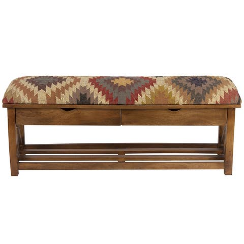 "Handmade Kilim Upholstered Storage Bench (India) - 47"" L x 10"" W x 16"" H"
