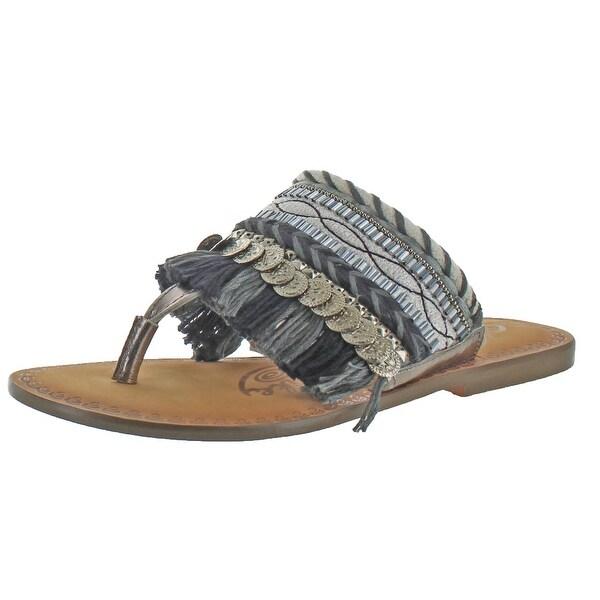 Naughty Monkey Monaco Women's Leather Fringe Sandal