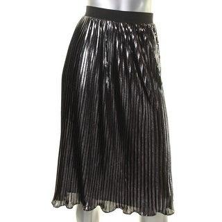 Aqua Womens Pleated Skirt Metallic Textured