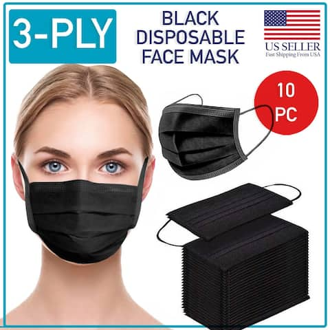 Disposable Black Face Mask 10 PCS 3-Ply Medical Surgical Ear-Loop Mouth Cover - No Size