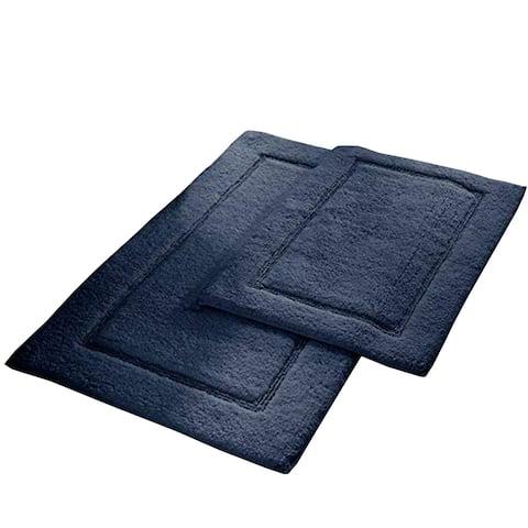Nantes 2 Piece Fabric Bath Mat with Non Slippery Back The Urban Port, Dark Blue