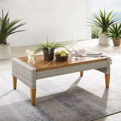 "Capella Outdoor Wicker Coffee Table - 15.5""H x 43.25""W x 24""D"