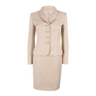Tahari ASL Women's Bead-Trim Textured Skirt Suit - Beige