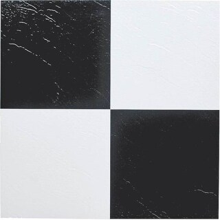 "Mintcraft ELE-1305-3L Black & White Vinyl Floor Tile, 12"" X 12"""