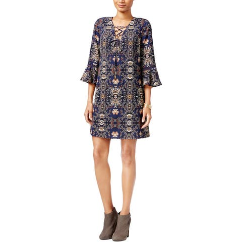 Jessica Simpson Womens Casual Dress Printed Bell Sleeves
