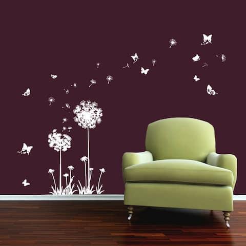 Walplus Wall Sticker White Dandelion Flower Butterflies Kid Art Decal