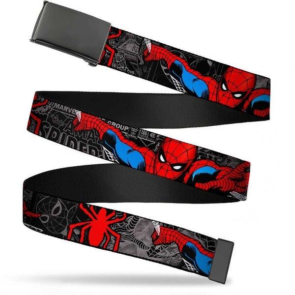 Marvel Comics blank Black Buckle Spider Man In Action W Spider Logo Web Belt