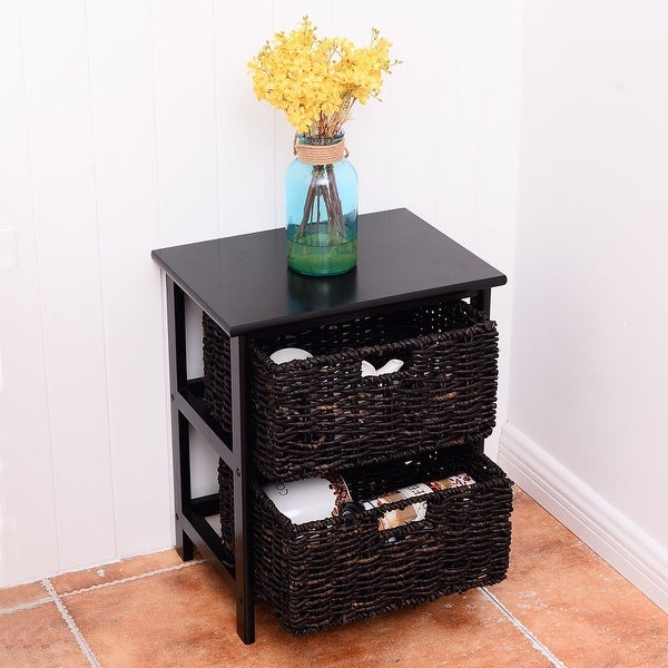 Costway Wood End Accent Table Home Furniture Living Room Night Stand W/2 Storage Baskets