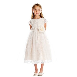 Sweet Kids Girls Champagne Rose Lace Tulle Junior Bridesmaid Dress (4 options available)