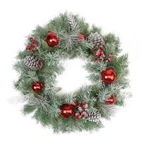 "24"" Flocked Pine, Red Ball, Berries & Silver Cedar Artificial Christmas Wreath - Unlit"