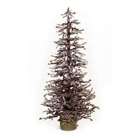 """Set of 2 LED Lighted Brown Snowy Mini Christmas Twig Trees with Gold Bells 48"""""""
