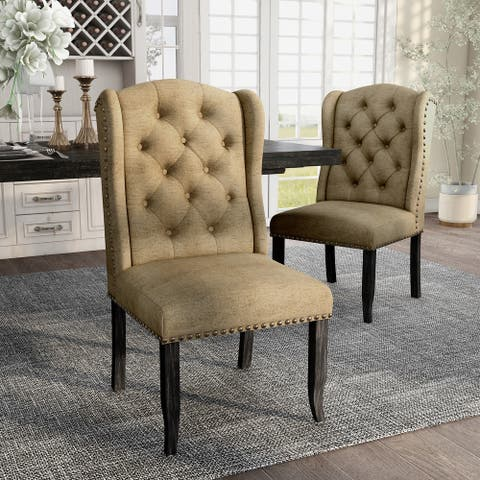 Furniture of America Tays Rustic Linen Dining Chairs (Set of 2)