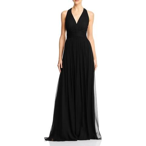 Aidan Mattox Chiffon Lace Inset Halter Empire Gown - Black