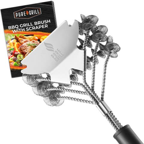 """18"""" Stainless Steel Bristle Free Grill Brush & Scraper by Pure Grill"""