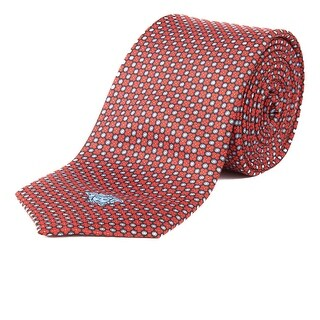 Versace Men's Slim Silk Medusa Dotted Pattern Tie Red - no size