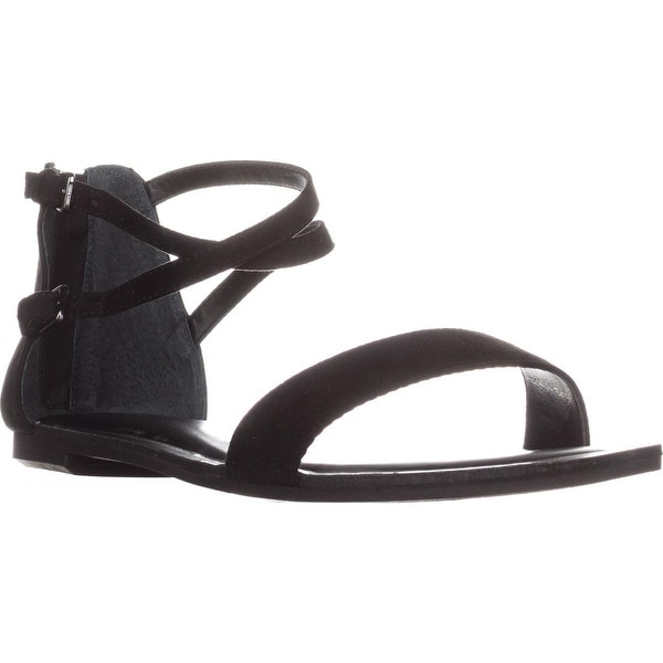 B35 Vista Flat Ankle Strap Sandals, Black - 10 us