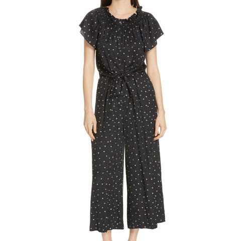 Rebecca Taylor Black Womens Size 12 Printed Smocked Jumpsuit