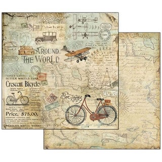 """Around The World Bike Tour - Stamperia Double-Sided Cardstock 12""""X12"""" (10/pack)"""