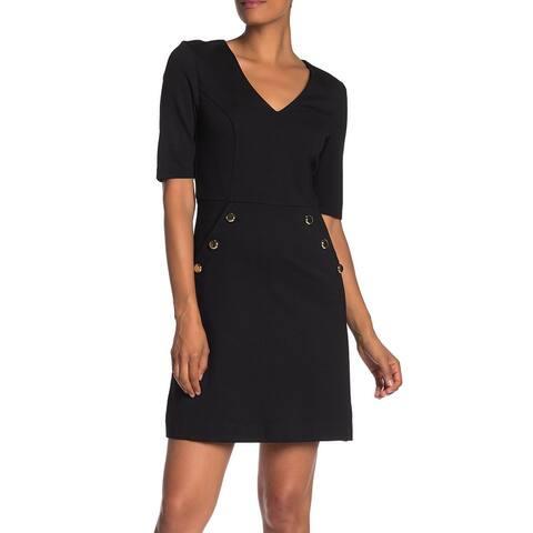 Trina Turk Womens A-Line Dress Black Size 6 V Neck Dual Pockets Seamed