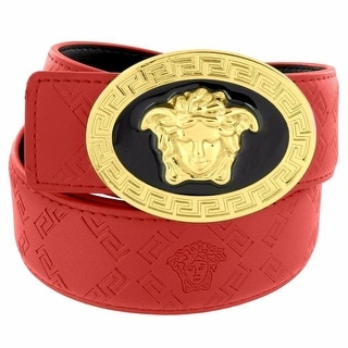 Medusa Face Buckle Red Leather Belt 46 Inch Gold Tone Greek Design Rapper Wear