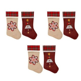 Link to Set of 6 Pack Christmas House Woodsy-Plaid Stockings Similar Items in Christmas Decorations
