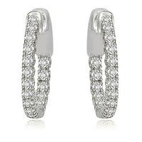 1.02 cttw. 14K White Gold Round Cut Diamond Hoop Earrings