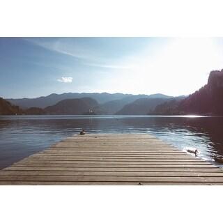 Wood Dock And Lake Photograph Art Print
