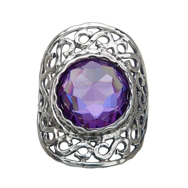4 ct Lavender Quartz Orbital Ring in Sterling Silver - Purple